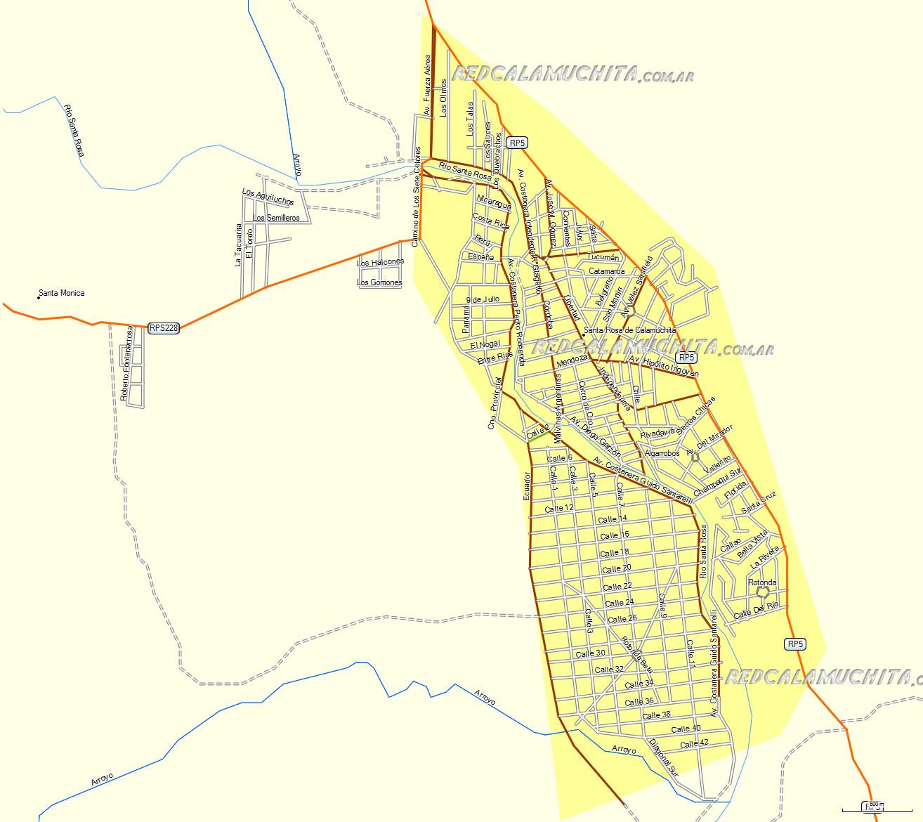 Mapa de Santa Rosa de Calamuchita Cordoba