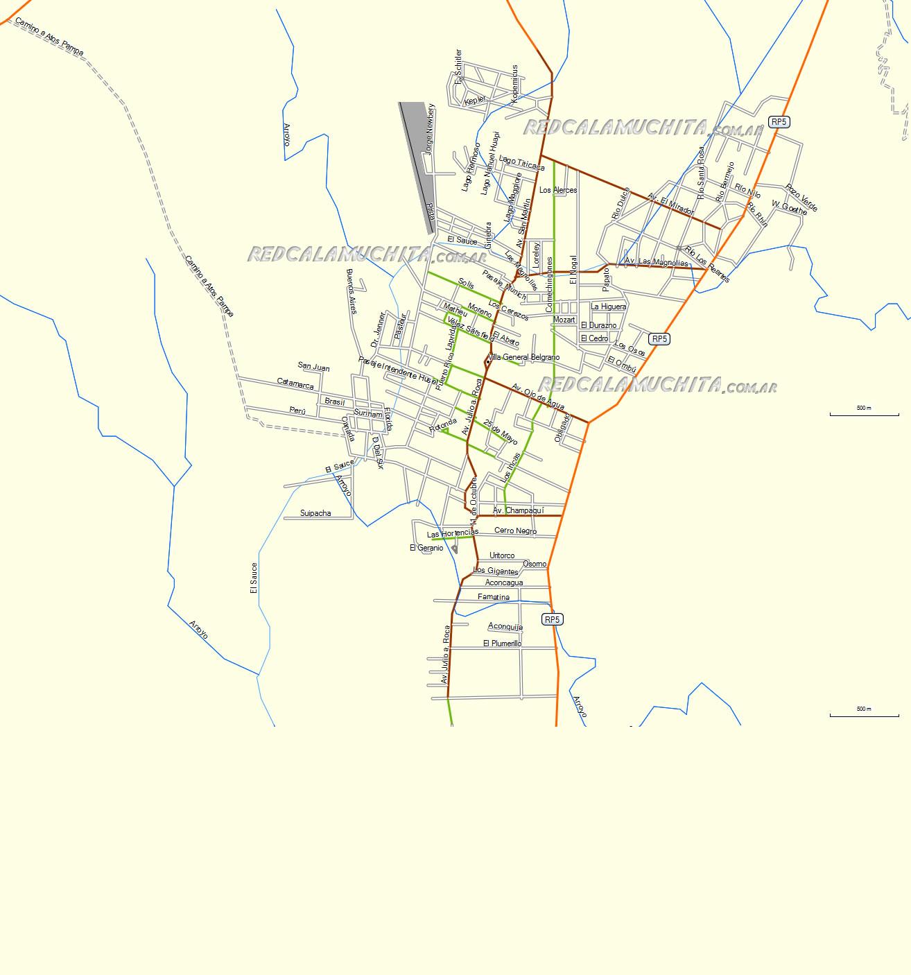 Mapa de Villa General Belgrano Cordoba